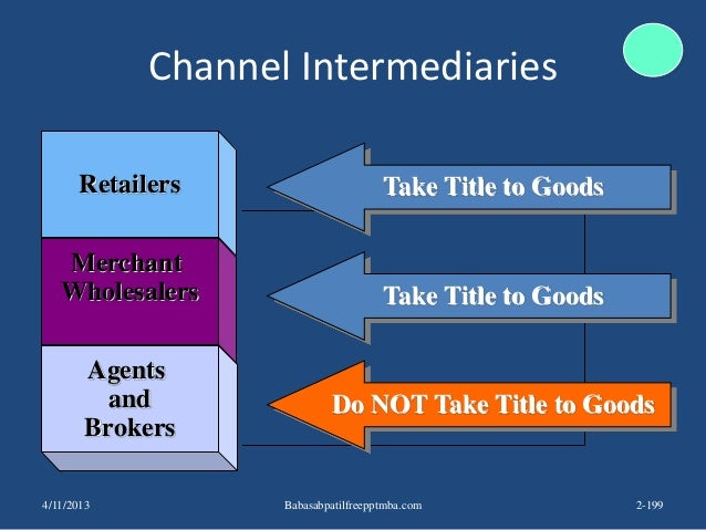 Channel Intermediaries Retailers Merchant Wholesalers Agents and Brokers Take Title to Goods Take Title to Goods Do NOT Ta...