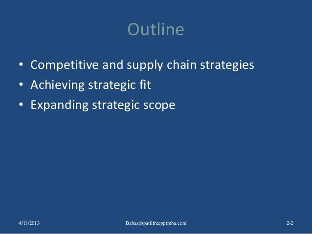 Outline • Competitive and supply chain strategies • Achieving strategic fit • Expanding strategic scope 2-24/11/2013 Babas...