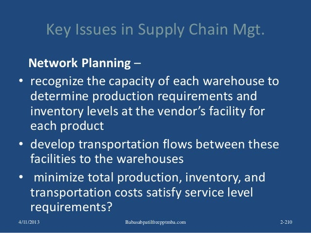 Key Issues in Supply Chain Mgt. Network Planning – • recognize the capacity of each warehouse to determine production requ...