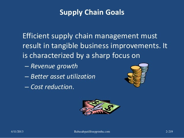 Supply Chain Goals Efficient supply chain management must result in tangible business improvements. It is characterized by...