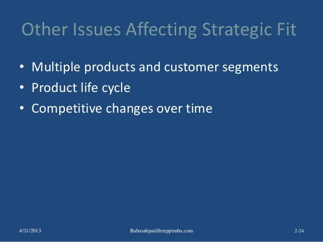 Other Issues Affecting Strategic Fit • Multiple products and customer segments • Product life cycle • Competitive changes ...