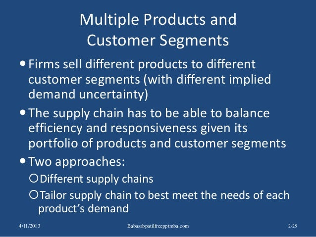 Multiple Products and Customer Segments Firms sell different products to different customer segments (with different impl...