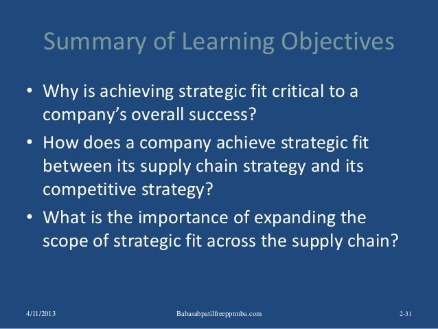 Summary of Learning Objectives • Why is achieving strategic fit critical to a company's overall success? • How does a comp...
