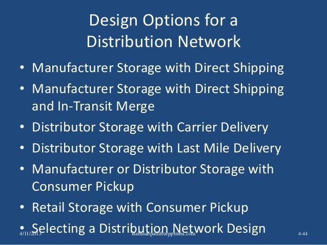 Design Options for a Distribution Network • Manufacturer Storage with Direct Shipping • Manufacturer Storage with Direct S...