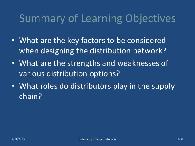 Summary of Learning Objectives • What are the key factors to be considered when designing the distribution network? • What...