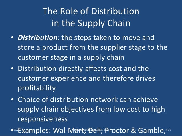 The Role of Distribution in the Supply Chain • Distribution: the steps taken to move and store a product from the supplier...