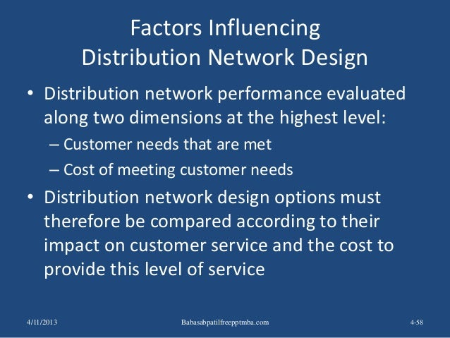 Factors Influencing Distribution Network Design • Distribution network performance evaluated along two dimensions at the h...