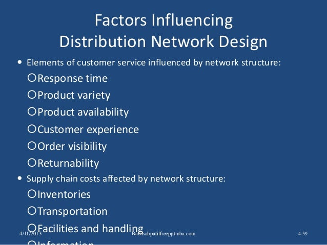 Factors Influencing Distribution Network Design  Elements of customer service influenced by network structure: Response ...