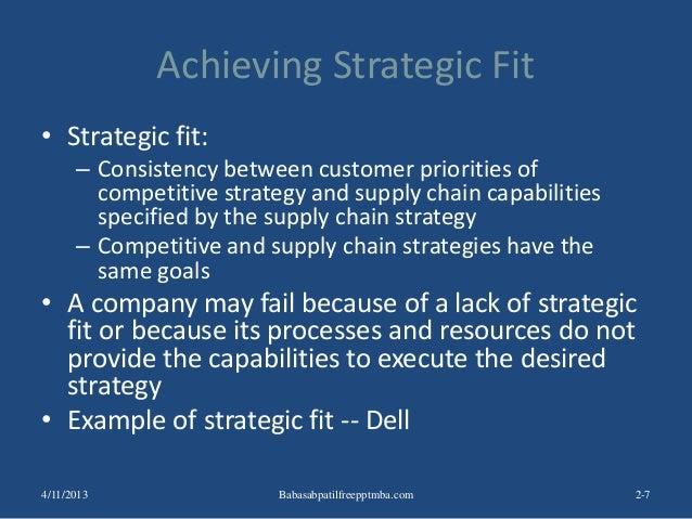 Achieving Strategic Fit • Strategic fit: – Consistency between customer priorities of competitive strategy and supply chai...