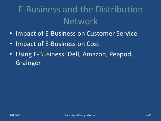 E-Business and the Distribution Network • Impact of E-Business on Customer Service • Impact of E-Business on Cost • Using ...