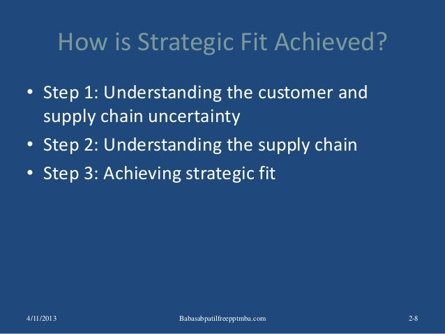 How is Strategic Fit Achieved? • Step 1: Understanding the customer and supply chain uncertainty • Step 2: Understanding t...