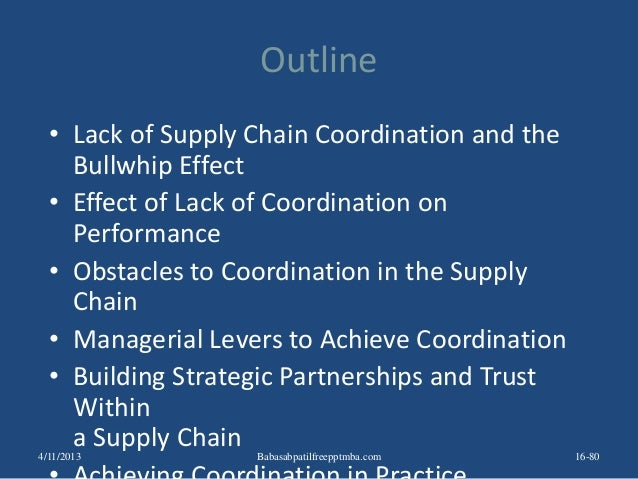 Outline • Lack of Supply Chain Coordination and the Bullwhip Effect • Effect of Lack of Coordination on Performance • Obst...