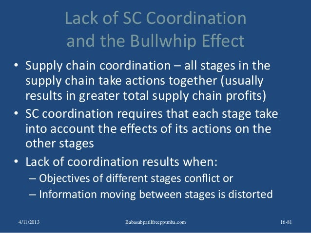 Lack of SC Coordination and the Bullwhip Effect • Supply chain coordination – all stages in the supply chain take actions ...