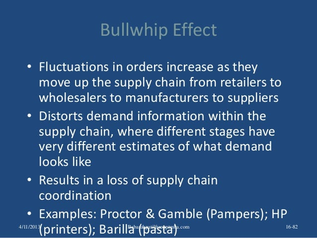 barilla spa bullwhip effect Case presentation barilla spa introduction company  order factory distributor wholesaler retailer order variation the causes of bullwhip effect demand.