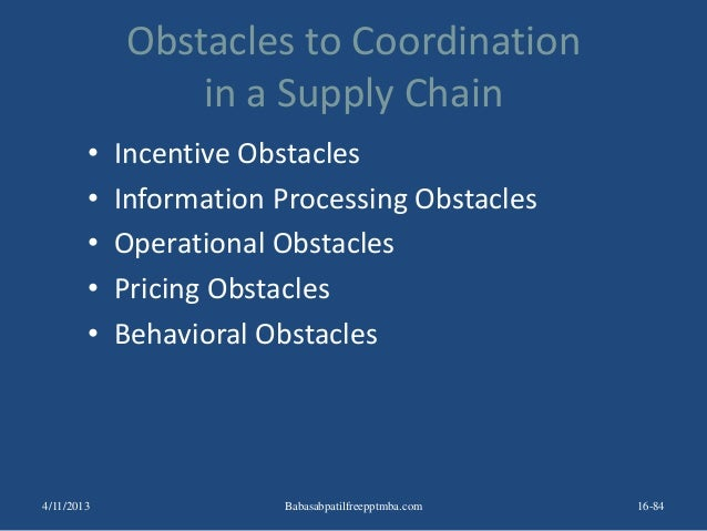 Obstacles to Coordination in a Supply Chain • Incentive Obstacles • Information Processing Obstacles • Operational Obstacl...