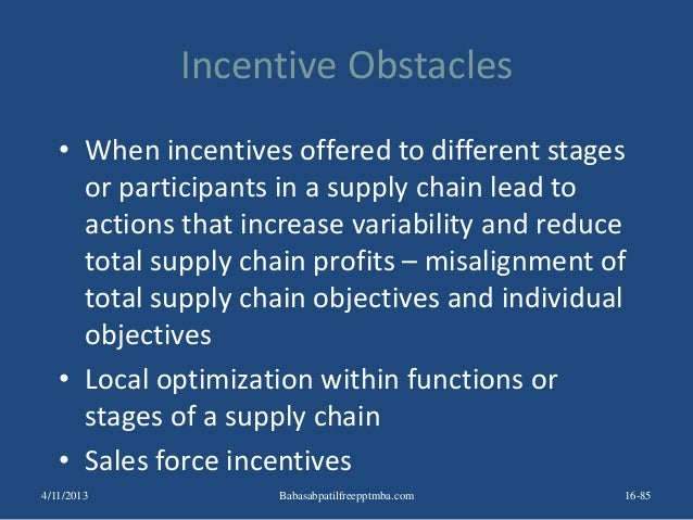 Incentive Obstacles • When incentives offered to different stages or participants in a supply chain lead to actions that i...