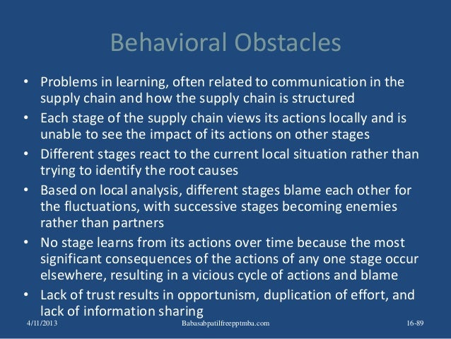 Behavioral Obstacles • Problems in learning, often related to communication in the supply chain and how the supply chain i...