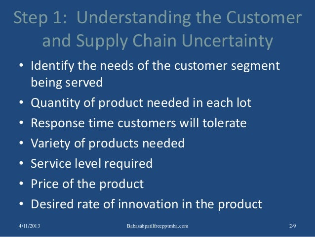 Step 1: Understanding the Customer and Supply Chain Uncertainty • Identify the needs of the customer segment being served ...