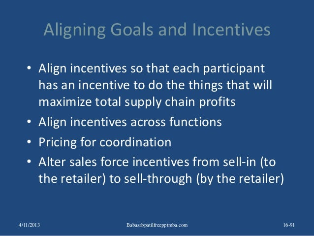 Aligning Goals and Incentives • Align incentives so that each participant has an incentive to do the things that will maxi...