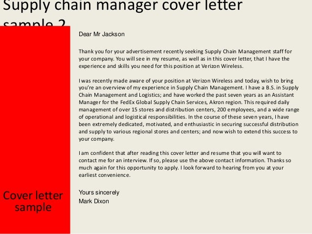 cover letter for supply chain management supply chain manager cover letter