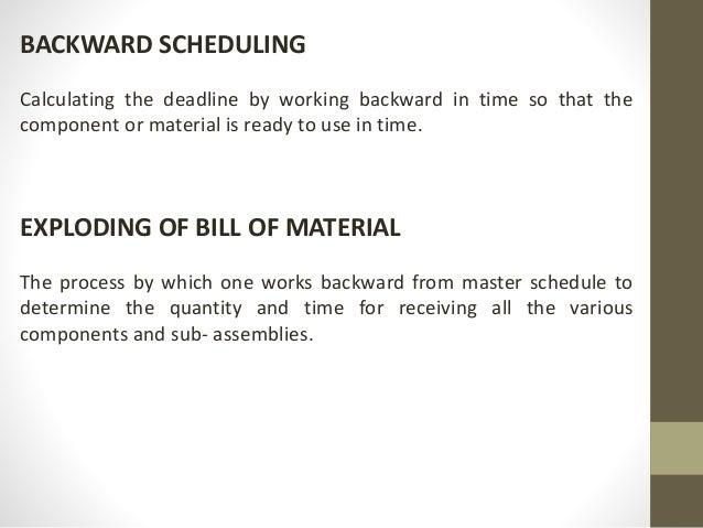 Worling backwards from deadlines
