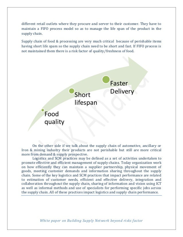 factors in supply chain agreement Managing an sme in an integrated supply chain is a complex task, and participation in multiple chains adds to the complexity rapid changes in the business environment, shorter product life cycles, and increasing customer demands require a robust management team that is willing and able to respond to changes.