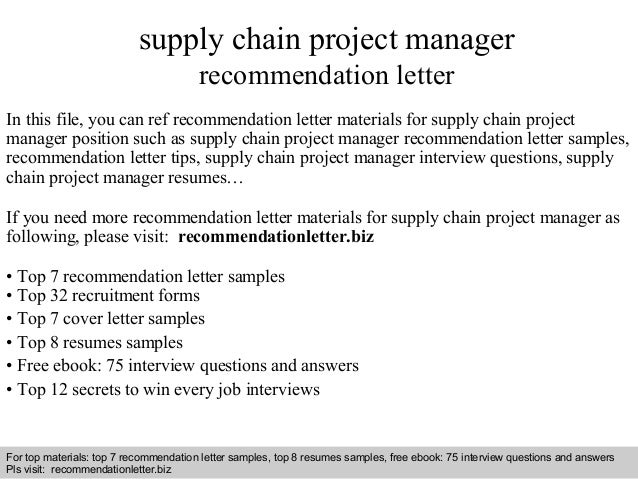 supply chain project manager recommendation letter. Black Bedroom Furniture Sets. Home Design Ideas