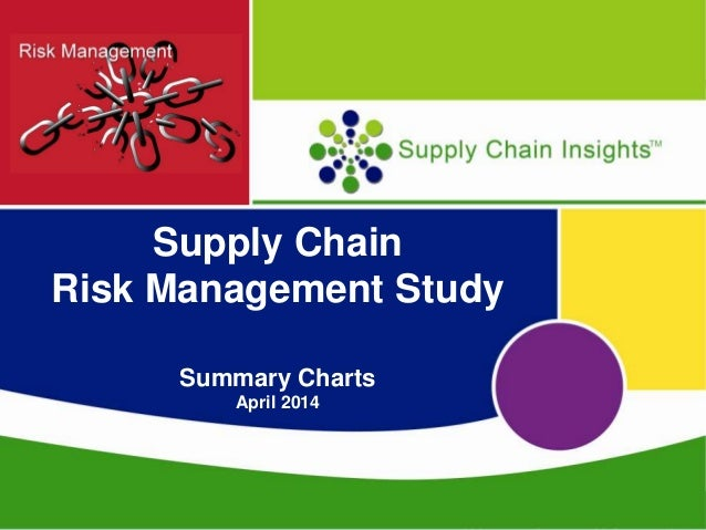 Supply Chain Risk Management - Summary Charts - 24 APRIL 2014