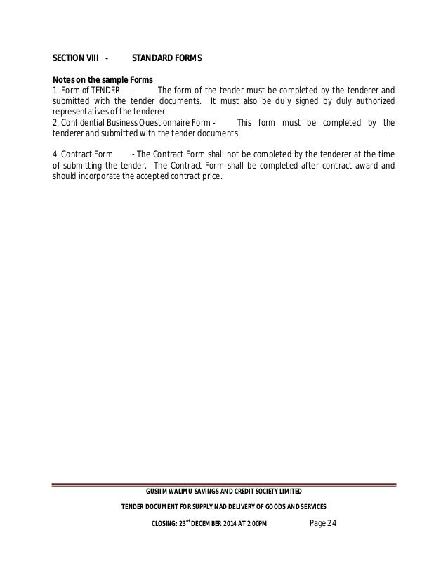 forfeiture notice template - gusii mwalimu sacco tender documents 2015 2016