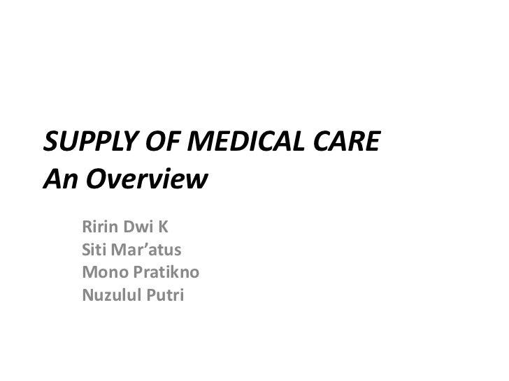 SUPPLY OF MEDICAL CAREAn Overview  Ririn Dwi K  Siti Mar'atus  Mono Pratikno  Nuzulul Putri