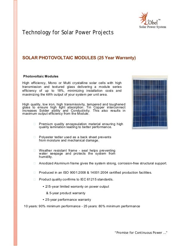 """""""Promise for Continuous Power …"""" Technology for Solar Power Projects SOLAR PHOTOVOLTAIC MODULES (25 Year Warranty) Photovo..."""