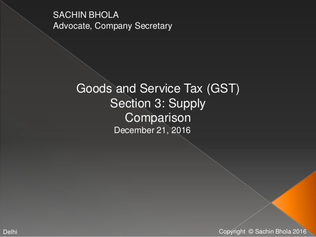 Copyright © Sachin Bhola 2016 SACHIN BHOLA Advocate, Company Secretary Goods and Service Tax (GST) Section 3: Supply Compa...