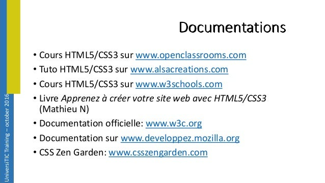 cours d u0026 39 introduction aux html5  u0026 css3