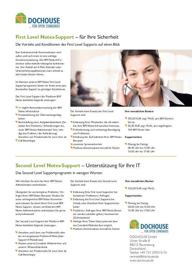 First Level Notes-Support – für Ihre Sicherheit Die Vorteile und Konditionen des First Level Supports auf einen Blick Eine...