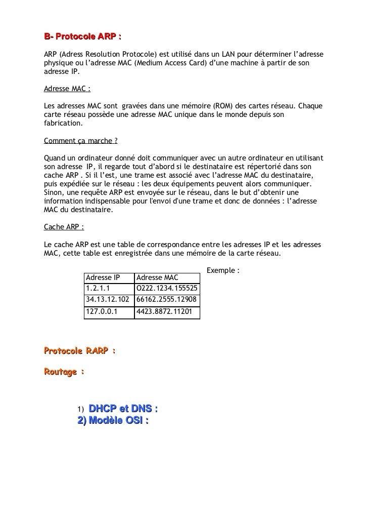 B- Protocole ARP :  ARP (Adress Resolution Protocole) est utilisé dans un LAN pour déterminer l'adresse physique ou l'adre...