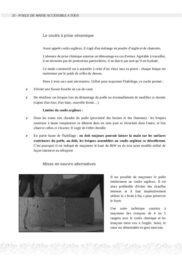 33 - POELE DE MASSE ACCESSIBLE A TOUS Le coulis à prise céramique Aussi appelé coulis argileux, il s'agit d'un mélange en ...
