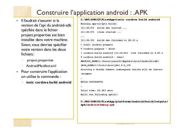 Support developpement applications mobiles avec ionic v3 et v4