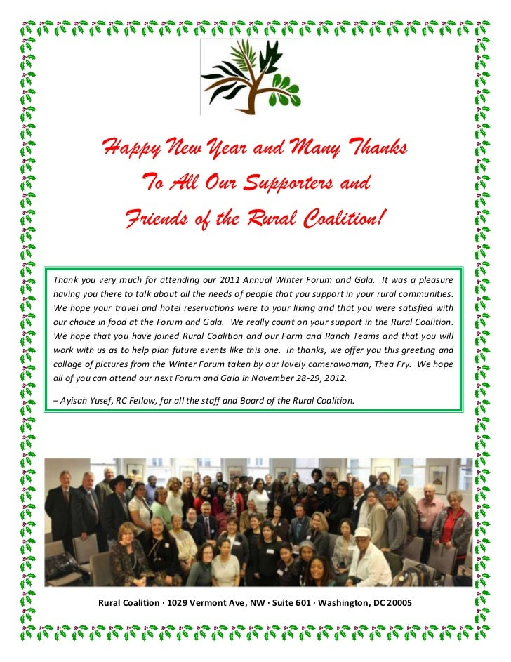 Happy New Year and Many Thanks                To All Our Supporters and               Friends of the Rural Coalition!Thank...