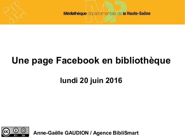 Une page Facebook en bibliothèque lundi 20 juin 2016 Anne-Gaëlle GAUDION / Agence BibliSmart