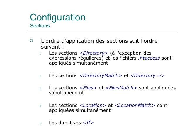 Configuration Sections  L'ordre d'application des sections suit l'ordre suivant : 1. Les sections <Directory> (à l'except...