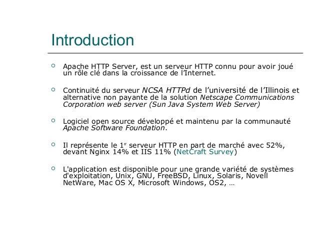 Introduction  Apache HTTP Server, est un serveur HTTP connu pour avoir joué un rôle clé dans la croissance de l'Internet....