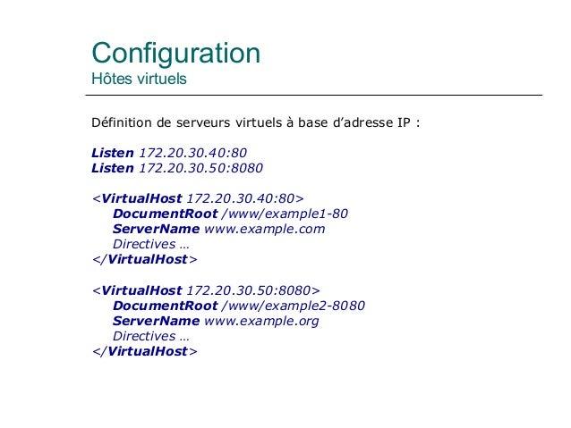 Configuration Hôtes virtuels Définition de serveurs virtuels à base d'adresse IP : Listen 172.20.30.40:80 Listen 172.20.30...