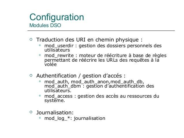 Configuration Modules DSO  Traduction des URI en chemin physique :  mod_userdir : gestion des dossiers personnels des ut...
