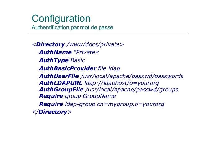 """Configuration Authentification par mot de passe <Directory /www/docs/private> AuthName """"Private« AuthType Basic AuthBasicP..."""