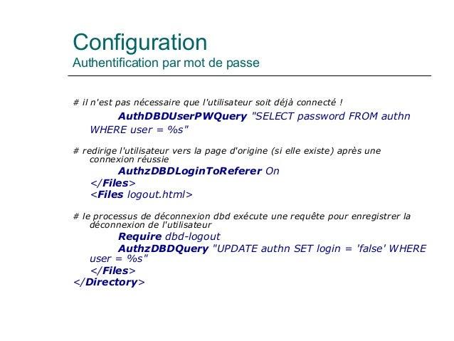 Configuration Authentification par mot de passe # il n'est pas nécessaire que l'utilisateur soit déjà connecté ! AuthDBDUs...