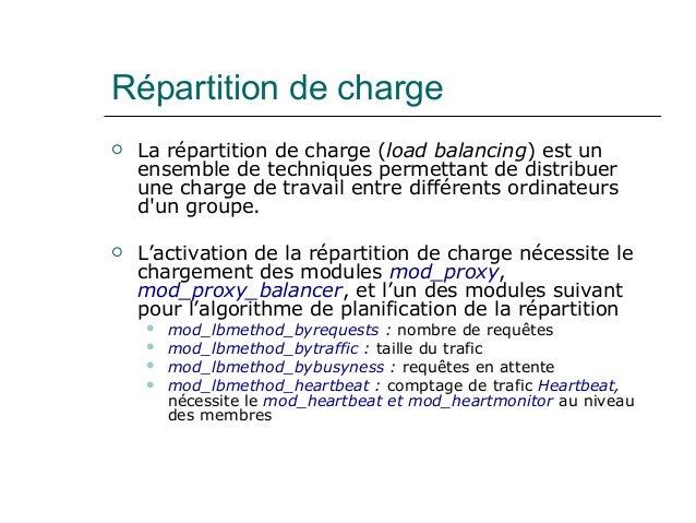 Répartition de charge  La répartition de charge (load balancing) est un ensemble de techniques permettant de distribuer u...