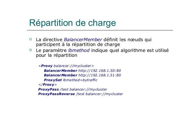 Répartition de charge  La directive BalancerMember définit les nœuds qui participent à la répartition de charge  Le para...