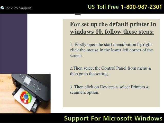 Support for set up default printer in windows 10