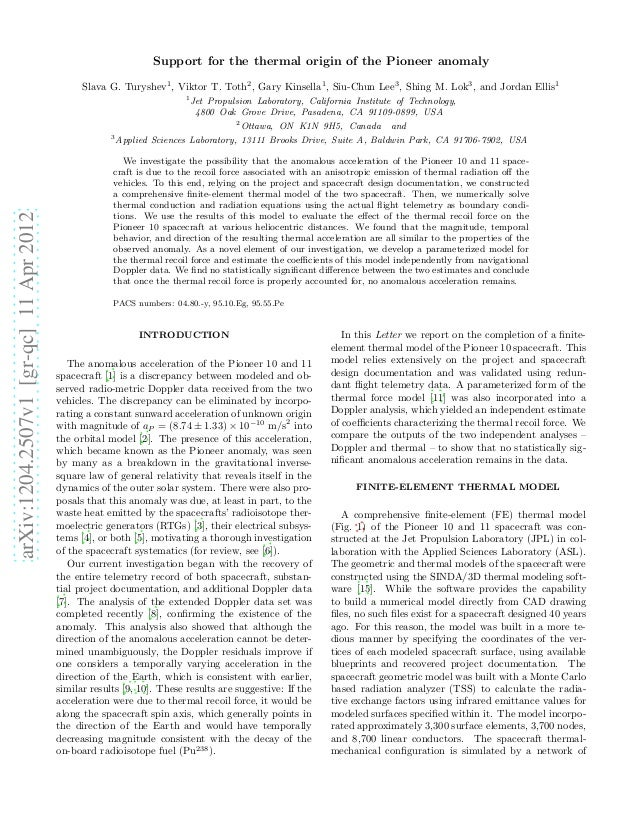 Support for the thermal origin of the Pioneer anomaly                                              Slava G. Turyshev1 , Vi...