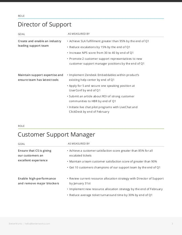 customer service goals and objectives examples